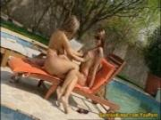 Two babes anal sex by the pool and eats cum