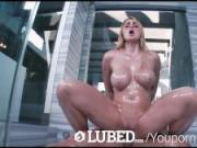 LUBED - Busty freckled face Skyla Novea has wet shower sex