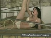 Tiffany Hot strip tease and pussy rubbing