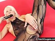 Blonde amateur-mom fucking herself plus a dildo