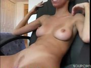 Amateur girl smiles while riding