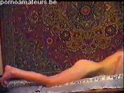 Petite blonde Russian girl sucking two horny dicks