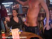 Pretty Coed suck a Male strippers cock