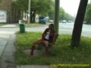 young girl pissing in public