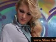 Blond loves the cum from gloryhole