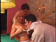 Blonde plays with dick stiicks on pool table