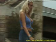 hot blonde babe peeing in park
