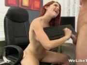 Kinky redhead licks cum from a keyboard after office blowjob