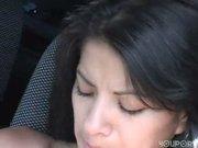 Latina amateur Maria masturbates in a car