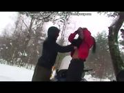 Girl strips outdoors and swallows bf's cum
