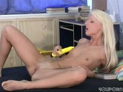 Perfect skinny blonde Vicki alone and horny