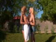 Lesbian blondes on the grass