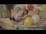 Babe Naked balloons popping