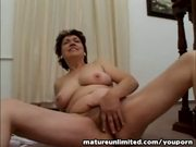 Hairy lady masturbating