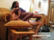 Hot African petite babe rides white cock