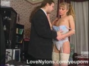 Hot female co-worker fucked in nylons