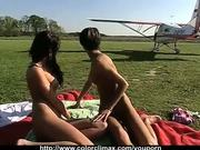Hot Lesbo-Love on Airfield