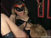 Masked blonde sits guy on pointed dildo pt 2/2