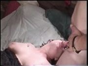 Three guys cum on one horny chick