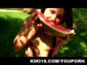 Kiki eating watermelon and touching herself