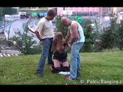 Public MMF Threesome in a very open place