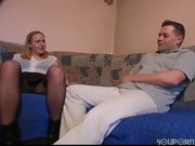 guy busts his nut on hot chick, but that is one ugly couch!