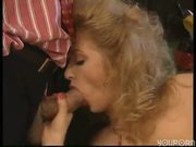 Blonde in pantyhose gets both holes fucked