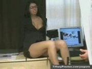 Busty office babe gets pussy licked