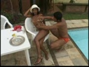 Pool boy lotions up hottie