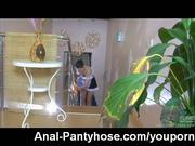 Maid in pantyhose gets it up her ass