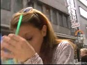 Hot chick uses a vibrator at lunch