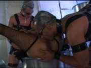 Girl sandwiched between 2 leather guys