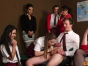 British CFNM schoolgirl cocksucking classmate