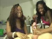 Three Ebony Babes Team Tug and Tease A Big White Cock
