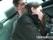 Naughty oral on the back seat