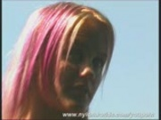 Blonde Cynthia outside in hot nylons