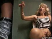 Gloryhole suck and fuck / Lesbian strapon scene / Interracial prison fuck