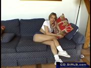 Petite young masturbating girl and her dildo