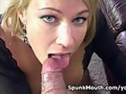 Stripclub hottie Mellanie Monroe hot oral action for a sticky cum on face