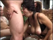 Brunette gives BJs to many guys