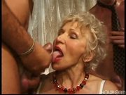 Granny has fun with three cocks part 2