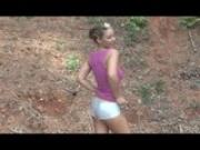 Busty Model dances for you in shiny silver shorts music video