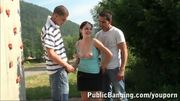 YOUNG pretty girl in PUBLIC threesome Part 1