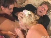 Bride,groom and maid of honor join for some sex