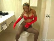 Hot red bra and gloves with black pantyhose
