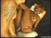 Black chick fucks white boy till he cums