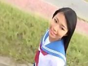 Aika Sakuragi slowly takes uniform off