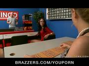 BUSTY ASIAN BRUNETTE IN HEELS BLOWS & FUCKS BINGO