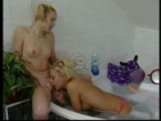 Two horny girls in the bubble bath