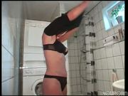 Georgous blonde bangs herself  on the toilet